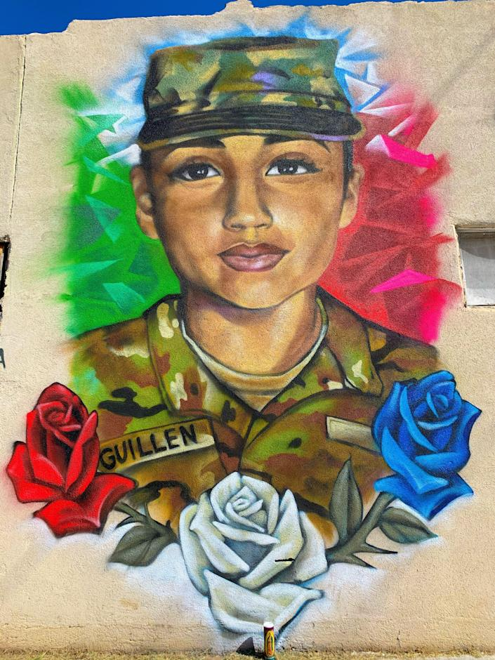 Inx Davila created a mural to honor slain soldier Vanessa Guillen in downtown San Angelo, Texas.