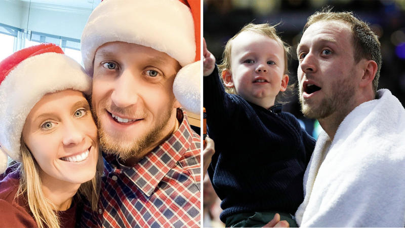 Renae and Joe Ingles (pictured left) smiling and Joe with his son after a basketball game.