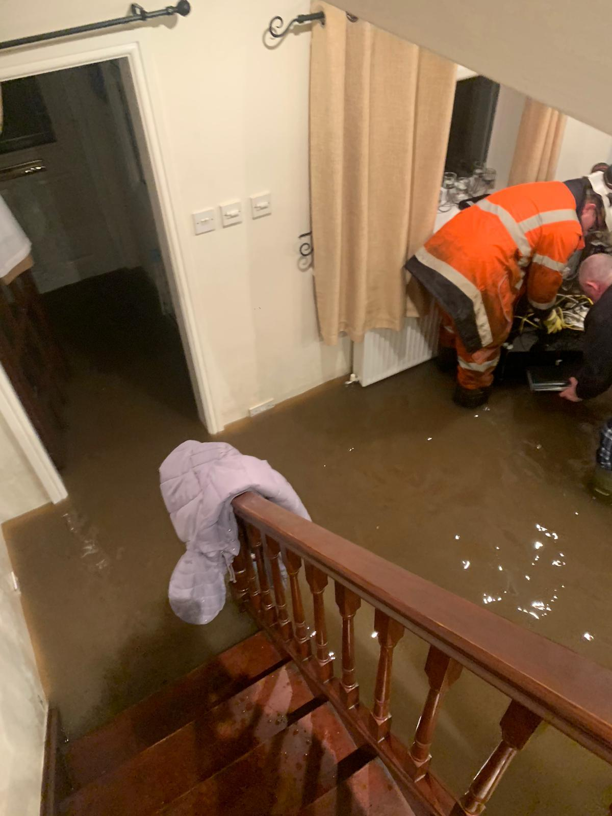 Flooding in Chris and Marlene Spencer's home in Chester