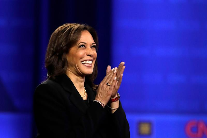 Sen. Kamala Harris (D-Calif.) at the Power of Our Pride Town Hall on Thursday in Los Angeles. (Photo: Marcio Jose Sanchez/ASSOCIATED PRESS)