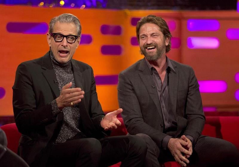 Having a laugh: Jeff Goldblum with Gerard Butler on The Graham Norton Show (PA)