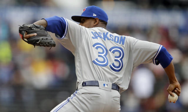 Toronto Blue Jays pitcher Edwin Jackson works against the San Francisco Giants in the first inning of a baseball game Wednesday, May 15, 2019, in San Francisco. (AP Photo/Ben Margot)