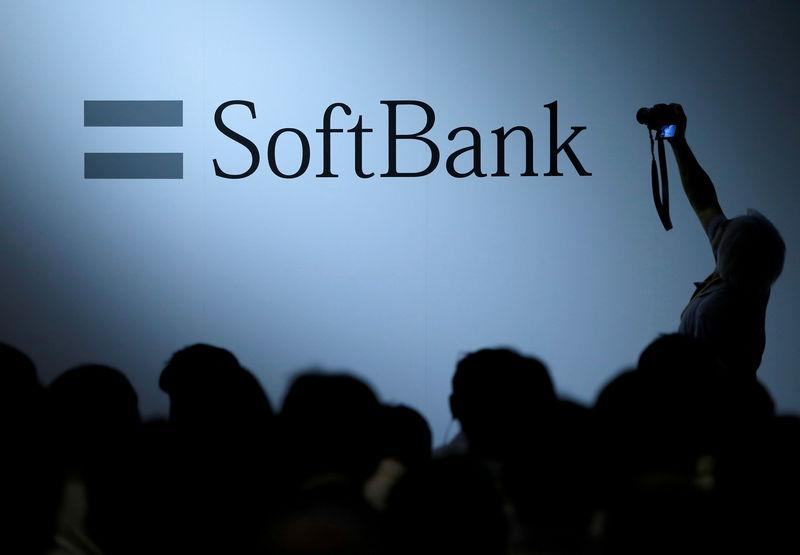 FILE PHOTO: The SoftBank Group logo displayed at the SoftBank World 2017 conference in Tokyo
