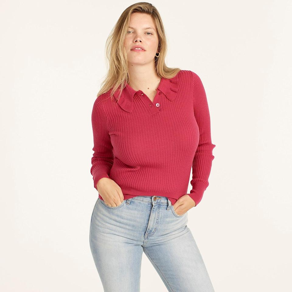 """<br><br><strong>J. Crew</strong> Ruffle-collar ribbed merino wool sweater, $, available at <a href=""""https://go.skimresources.com/?id=30283X879131&url=https%3A%2F%2Fwww.jcrew.com%2Fp%2Fwomens%2Fcategories%2Fclothing%2Fsweaters%2Fpullovers%2Fruffle-collar-ribbed-merino-wool-sweater%2FBB389"""" rel=""""nofollow noopener"""" target=""""_blank"""" data-ylk=""""slk:J. Crew"""" class=""""link rapid-noclick-resp"""">J. Crew</a>"""