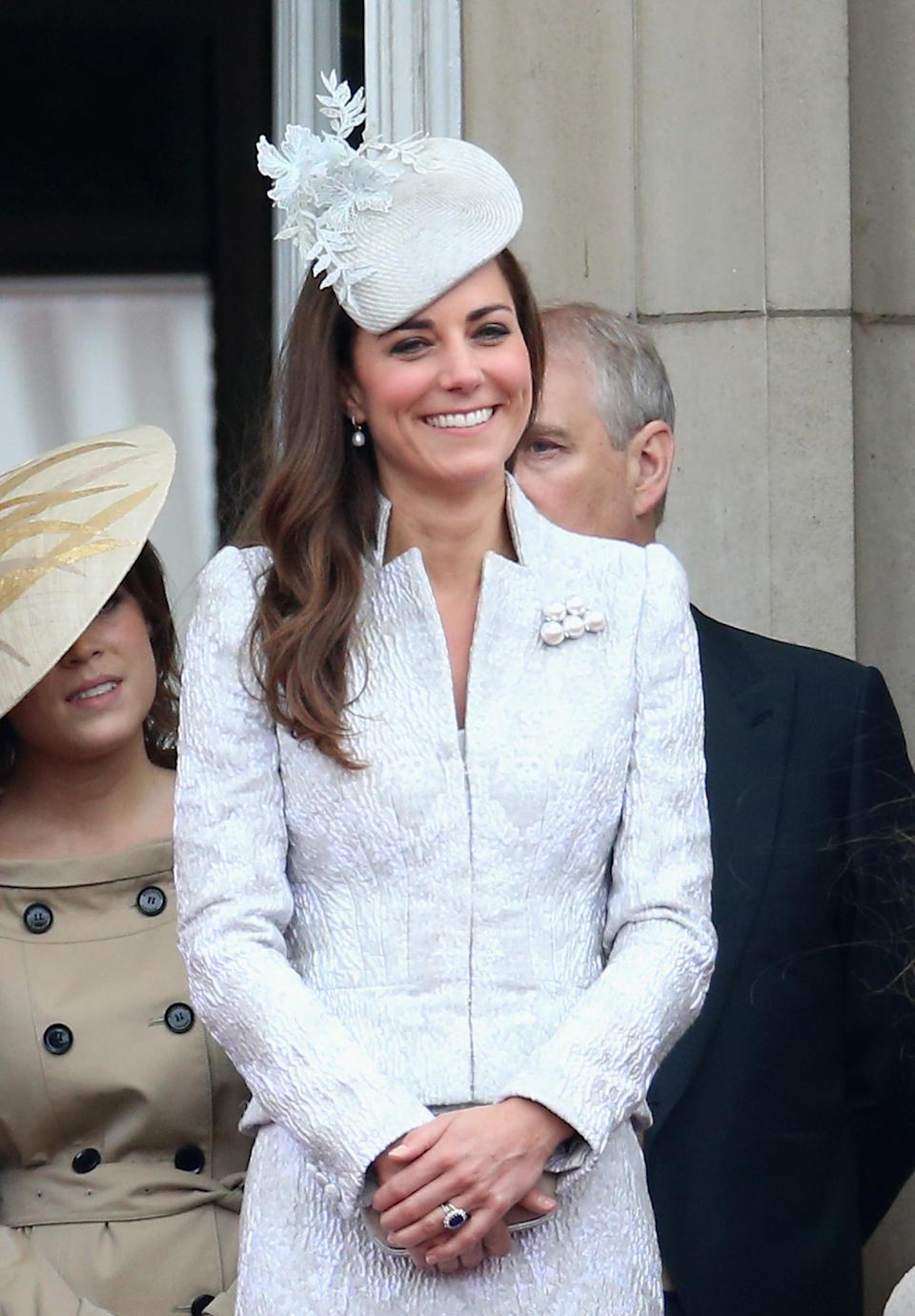 No prizes for guessing which label the Duchess of Cambridge wore to the annual event back in 2014. Yes, she looked to Alexander McQueen once again for a bespoke co-ord and accessorised the look with a co-ordinating hat by milliner, Jane Taylor. (Rex pictures)