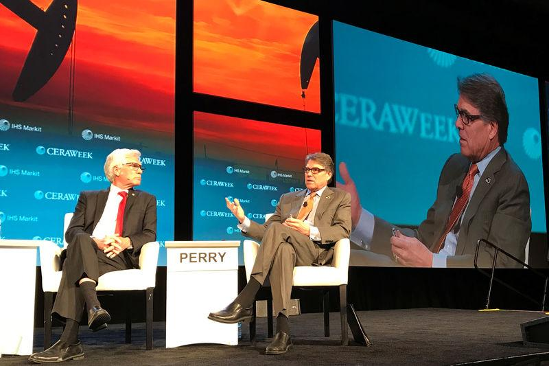 U.S. Energy Secretary Perry, takes part in a panel discussion at CERAWeek energy conference in Houston