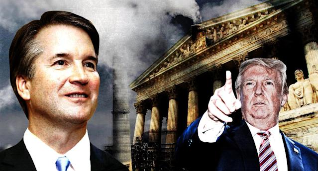 Brett Kavanaugh could have plenty of opportunities to change environmental law in the near future. (Photo illustration: Yahoo News; photos: AP, Getty)
