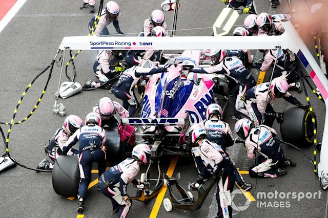 """Sergio Perez, Racing Point RP19 pit stop <span class=""""copyright"""">Steven Tee / Motorsport Images</span>"""