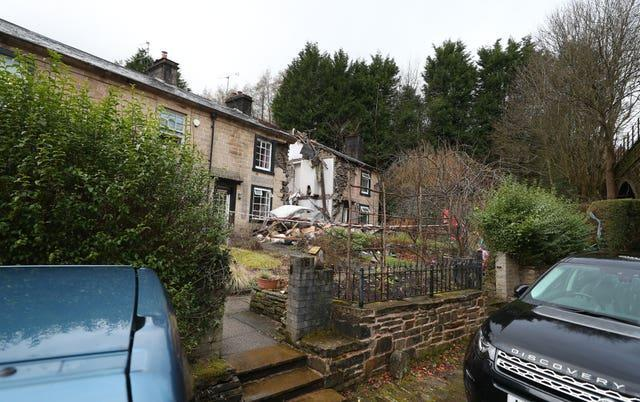 The scene in Ramsbottom, Bury, Greater Manchester, where the body of a woman has been found after a house collapsed on Wednesday evening