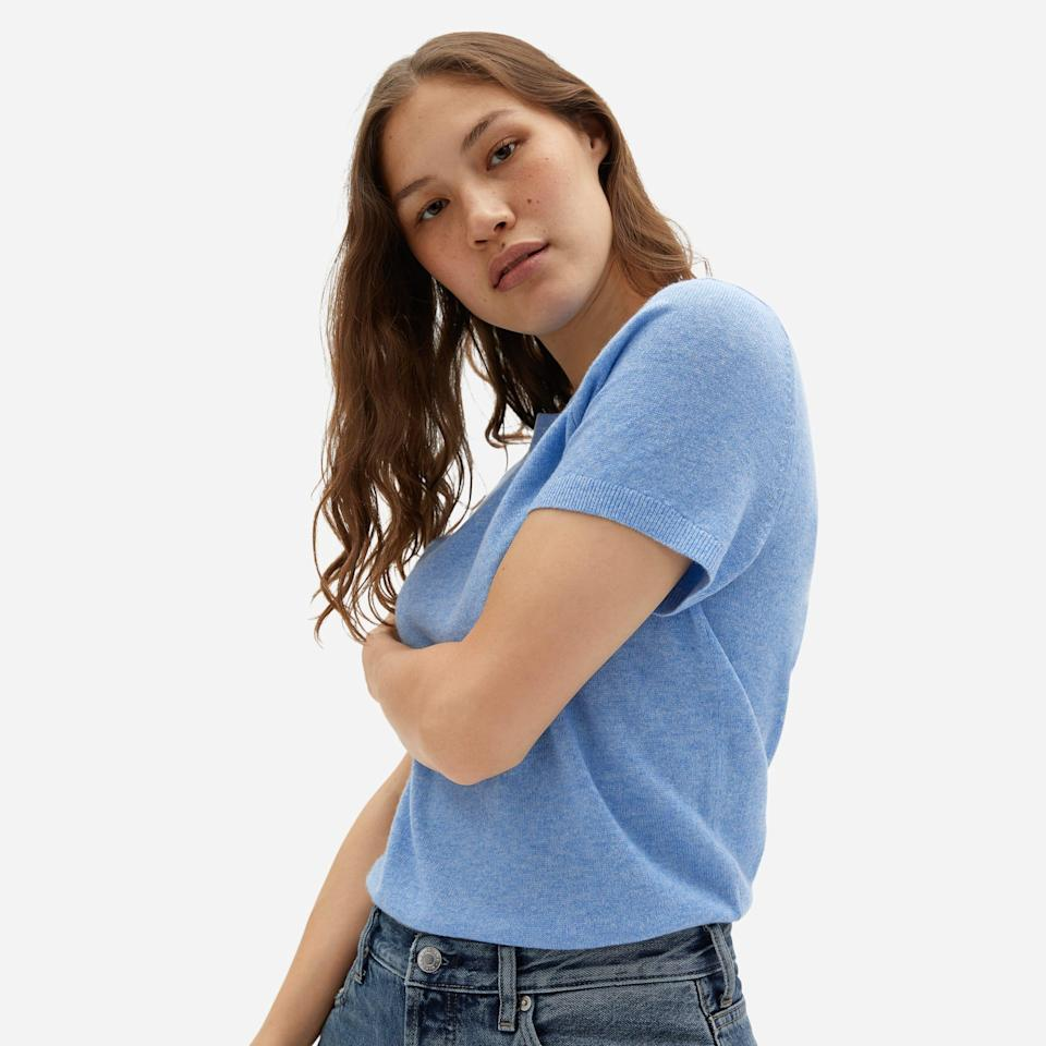 """<br><br><strong>Everlane</strong> The Cashmere Sweater Tee - Sky Blue, $, available at <a href=""""https://go.skimresources.com/?id=30283X879131&url=https%3A%2F%2Fwww.everlane.com%2Fproducts%2Fwomens-cashmere-tee-sky-blue"""" rel=""""nofollow noopener"""" target=""""_blank"""" data-ylk=""""slk:Everlane"""" class=""""link rapid-noclick-resp"""">Everlane</a>"""
