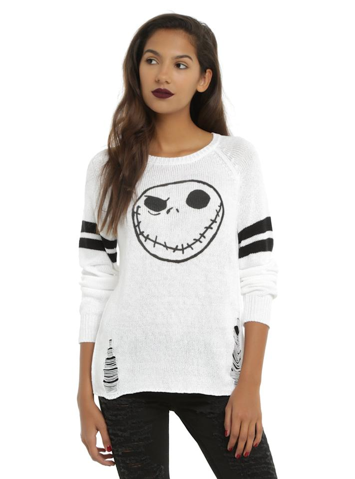 "<p>This <a href=""https://www.hottopic.com/product/the-nightmare-before-christmas-jack-skellington-girls-destructed-sweater/10728440.html?cgid=pop-culture-shop-by-license-nightmare-before-christmas#sz=120&amp;start=199"" target=""_blank"" class=""ga-track"" data-ga-category=""Related"" data-ga-label=""https://www.hottopic.com/product/the-nightmare-before-christmas-jack-skellington-girls-destructed-sweater/10728440.html?cgid=pop-culture-shop-by-license-nightmare-before-christmas#sz=120&amp;start=199"" data-ga-action=""In-Line Links""><b>The Nightmare Before Christmas</b> Jack Skellington Girls Destructed Sweater</a> ($20, originally $45) is equally cute and creepy.</p>"