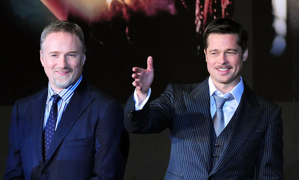 """TOKYO - JANUARY 29:  Actor Brad Pitt and director David Fincher attend the """"The Curious Case of Benjamin Button"""" Japan Premiere at Roppongi Hills arena on January 29, 2009 in Tokyo, Japan. The film will open on February 7 in Japan.  (Photo by Jun Sato/WireImage)"""