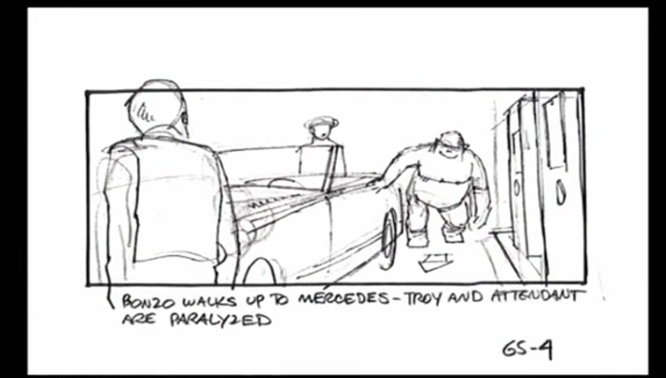A storyboard for a deleted scene from 'The Goonies' involving a pair of troublemaking gorillas (Photo: The Donners' Company/YouTube)