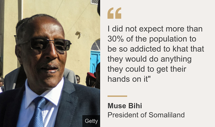 """"""" I did not expect more than 30% of the population to be so addicted to khat that they would do anything they could to get their hands on it"""""""", Source: Muse Bihi, Source description: President of Somaliland, Image:"""