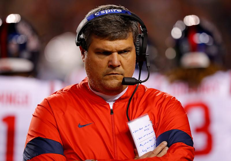 AUBURN, ALABAMA - NOVEMBER 02: Head coach Matt Luke of the Mississippi Rebels looks on against the Auburn Tigers in the first half at Jordan-Hare Stadium on November 02, 2019 in Auburn, Alabama. (Photo by Kevin C. Cox/Getty Images)