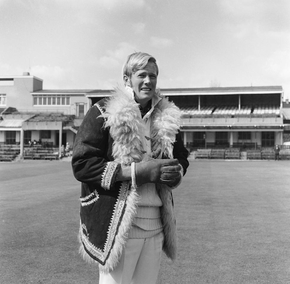 2nd April 1970:  South African born England cricketer Tony Greig wearing an excessive coat and gloves to ward off the cold during a pre-season training session.  (Photo by Dennis Oulds/Central Press/Getty Images)