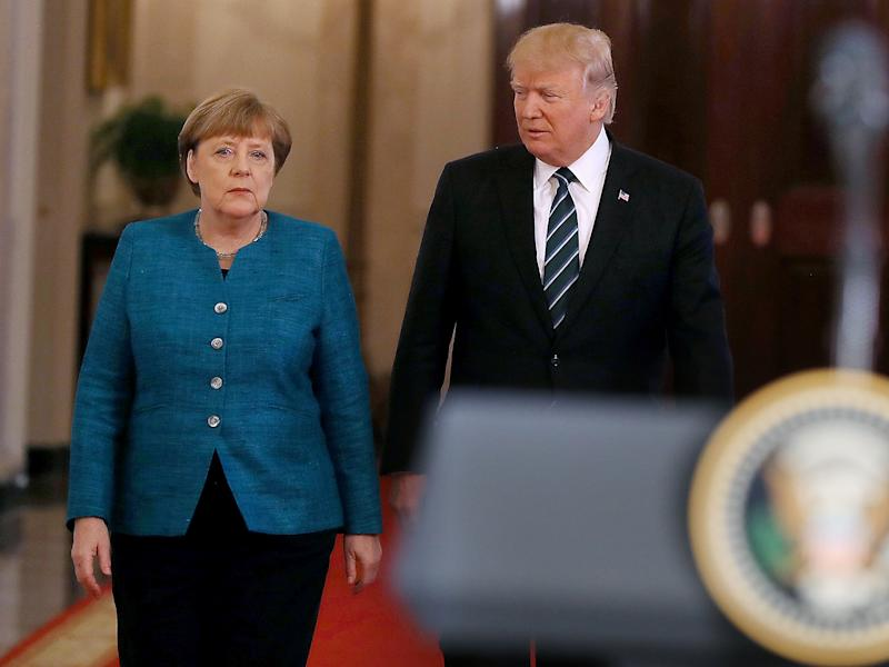 Ms Merkel is said to have 'ignored the provocation' shown by her Washington host: Getty