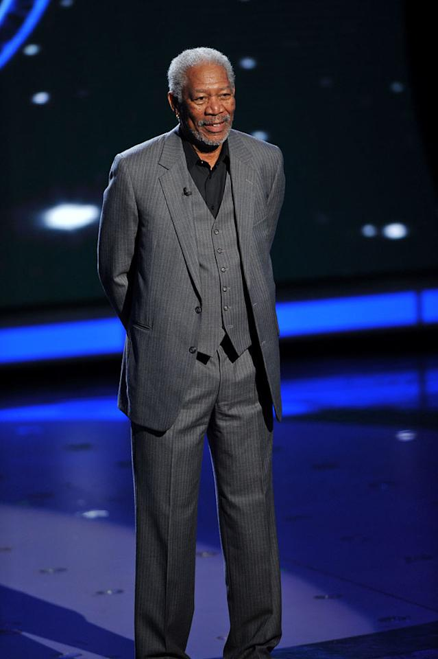 "Morgan Freeman on <a href=""/american-idol/show/34934"">""Idol Gives Back.""</a>"