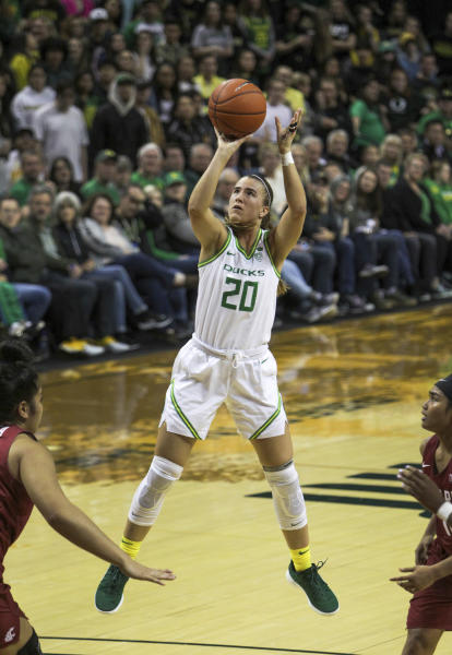 Oregon's Sabrina Ionescu shoots against Washington State in an NCAA college basketball game in Eugene, Ore., Friday, Feb. 28, 2020. (AP Photo/Collin Andrew)