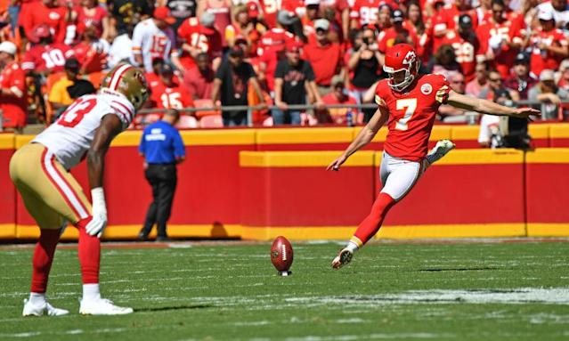 "<a class=""link rapid-noclick-resp"" href=""/nfl/players/30346/"" data-ylk=""slk:Harrison Butker"">Harrison Butker</a> — led by the Chiefs high-flying offense — could shine in Week 4. (Photo by Peter G. Aiken/Getty Images)"