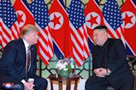 North Korea's leader Kim Jong Un and U.S. President Donald Trump speak during the second U.S.-North Korea summit in Hanoi, Vietnam, in this photo released on February 28, 2019 by North Korea's Korean Central News Agency (KCNA). KCNA via REUTERS
