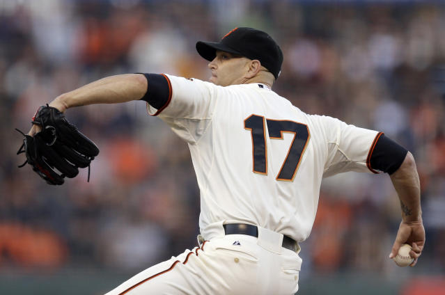 San Francisco Giants' Tim Hudson works against the New York Mets in the first inning of a baseball game Saturday, June 7, 2014, in San Francisco. (AP Photo/Ben Margot)