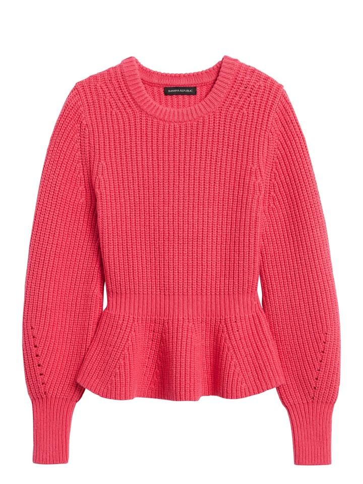 """<p>The shape of this <a href=""""https://www.popsugar.com/buy/Peplum-Cropped-Sweater-542174?p_name=Peplum%20Cropped%20Sweater&retailer=bananarepublic.gap.com&pid=542174&price=99&evar1=fab%3Auk&evar9=47131498&evar98=https%3A%2F%2Fwww.popsugar.com%2Ffashion%2Fphoto-gallery%2F47131498%2Fimage%2F47131593%2FPeplum-Cropped-Sweater&list1=shopping%2Cbanana%20republic%2Ceditors%20pick%2Cwinter%20fashion&prop13=api&pdata=1"""" rel=""""nofollow"""" data-shoppable-link=""""1"""" target=""""_blank"""" class=""""ga-track"""" data-ga-category=""""Related"""" data-ga-label=""""https://bananarepublic.gap.com/browse/product.do?pid=551647012&amp;cid=1112481&amp;pcid=48422&amp;vid=1&amp;grid=pds_174_747_1#pdp-page-content"""" data-ga-action=""""In-Line Links"""">Peplum Cropped Sweater </a> ($99) is very on-trend right now. It comes in cream and black as well.</p>"""