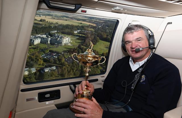 AUCHTERARDER, SCOTLAND - OCTOBER 03: Paul Lawrie of Scotland flys in to the grounds of the Gleneagles Hotel during the offical handover of the Ryder Cup to The Gleneagles Hotel, the hosts of the 2014 event, at Gleneagles on October 3, 2012 in Auchterarder, Scotland. (Photo by Ross Kinnaird/Getty Images)
