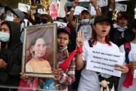 FILE PHOTO: Rally against military coup in Yangon