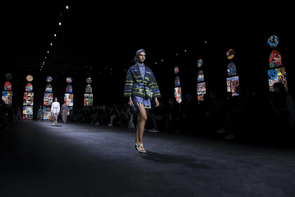 A model wears a creation for Dior's Spring-Summer 2021 fashion collection, Tuesday, Sept. 29, 2020, during Paris fashion week. (Photo by Vianney Le Caer/Invision/AP)