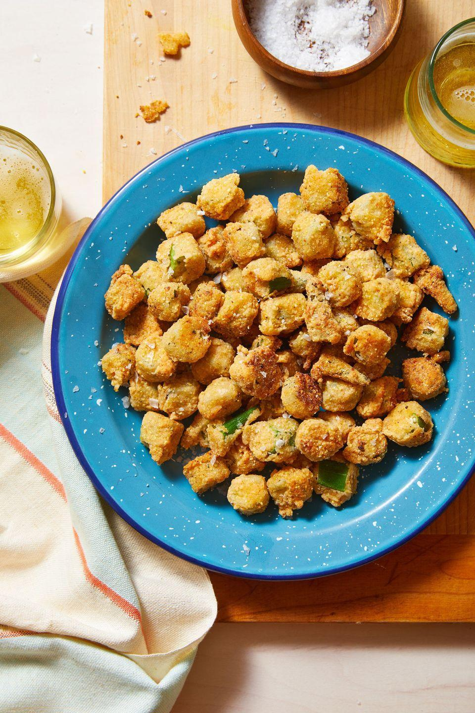 """<p>If you're unfamiliar with okra, this is an amazing way to acquaint yourself.</p><p>Get the recipe from <a href=""""https://www.delish.com/cooking/recipe-ideas/a33624788/fried-okra-recipe/"""" rel=""""nofollow noopener"""" target=""""_blank"""" data-ylk=""""slk:Delish"""" class=""""link rapid-noclick-resp"""">Delish</a>.</p>"""
