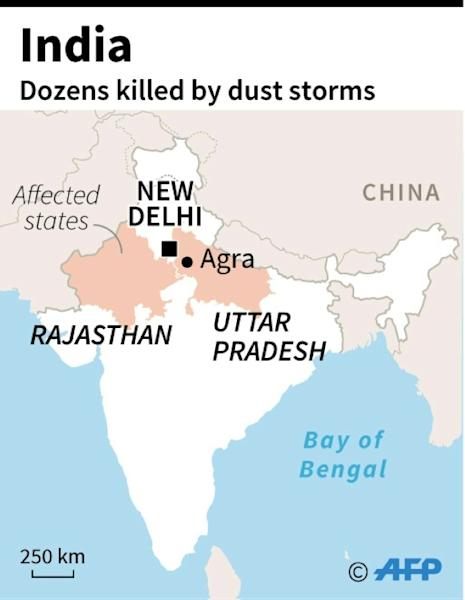 Map of India locating states with deadly dust storms