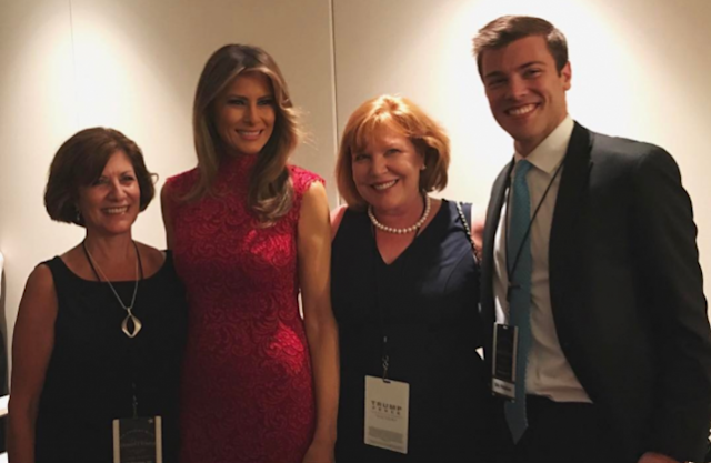 Melania Trump on Wednesday at a fundraiser. (Photo: billy_v_ via Instagram)