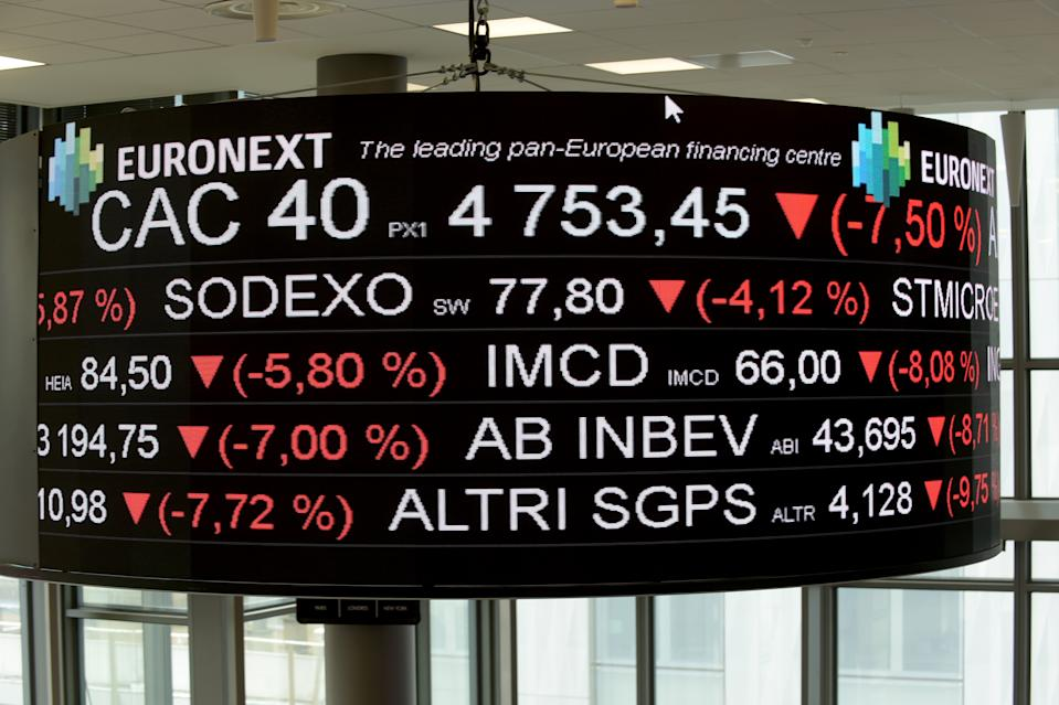A screen displays the CAC 40 amongst stock tickers displayed at the headquarters of the Pan-European stock exchange Euronext, in La Defense district, near Paris, on March 9, 2020. - The Paris and Frankfurt stock exchanges fell more than 10 percent on March 12 afternoon trading after the European Central Bank unveiled a series of measures to shore up the eurozone economy but did not cut rates. The CAC 40 was down 10.2 percent to 4142.13 around 1340 GMT, while the DAX 30 in Frankfurt had tumbled 10.3 percent to 9,360.58. (Photo by ERIC PIERMONT / AFP) (Photo by ERIC PIERMONT/AFP via Getty Images)
