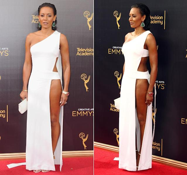Sündhaft viel Bein zeigte auch Sängerin Mel B in ihrer grafisch geschnittenen Robe von Celia Kritharioti mit ultrahohem Beinschlitz bei den Creative Emmy Awards in Los Angeles. (Bilder: Getty Images)