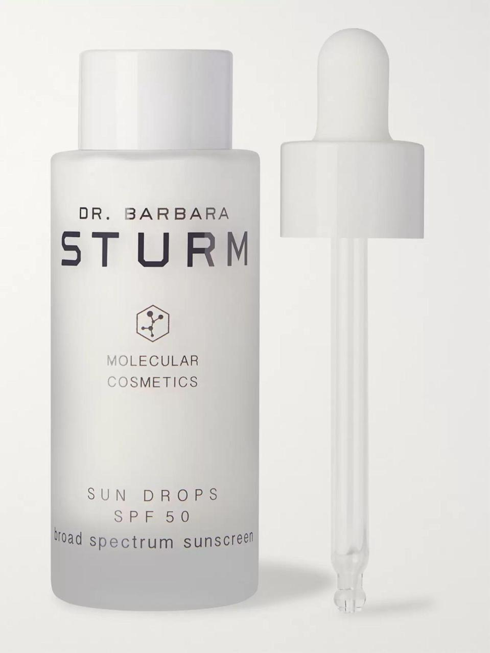 """<p><strong>Dr. Barbara Sturm</strong></p><p>mrporter.com</p><p><strong>$145.00</strong></p><p><a href=""""https://go.redirectingat.com?id=74968X1596630&url=https%3A%2F%2Fwww.mrporter.com%2Fen-us%2Fmens%2Fproduct%2Fdr-barbara-sturm%2Fgrooming%2Fsuncare%2Fsun-drops-spf50-broad-spectrum-sunscreen-30ml%2F2307389542101408&sref=https%3A%2F%2Fwww.townandcountrymag.com%2Fstyle%2Fg36729805%2Fthe-weekly-covet-june-18-2021%2F"""" rel=""""nofollow noopener"""" target=""""_blank"""" data-ylk=""""slk:Shop Now"""" class=""""link rapid-noclick-resp"""">Shop Now</a></p><p>""""For dads who love to spend all of their free time playing tennis or golf, give the invaluable gift of sun protection. Dr. Barbara Sturm's luxe version also does double duty by fighting fine lines and wrinkles.""""—<em>Leena Kim, Associate Editor</em></p>"""