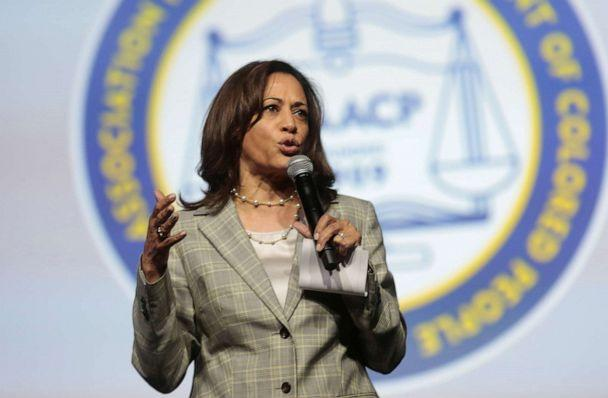 PHOTO: Democratic U.S. Presidential candidate Senator Kamala Harris addresses the audience during the Presidential candidate forum at the annual convention of the National Associationfor theAdvancementofColored People(NAACP). (Rebecca Cook/Reuters)
