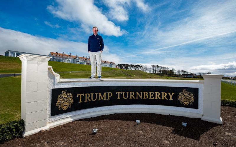 Eric Trump at Trump Turnberry Resort on Monday - Credit: Stuart Nicol Photography