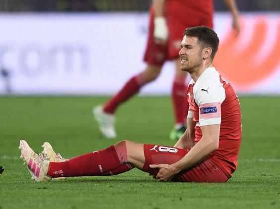 Aaron Ramsey: Arsenal midfielder could play again this season after hamstring injury says Unai Emery