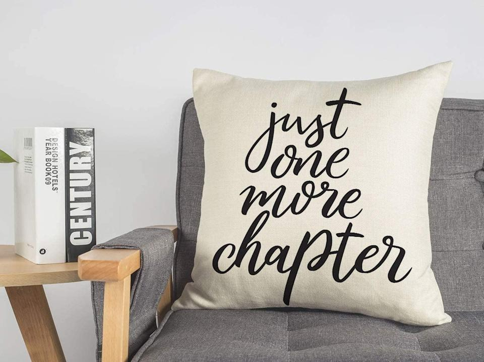 <p>We love this <span>4TH Emotion Just One More Chapter Throw Pillow</span> ($11, originally $13).</p>