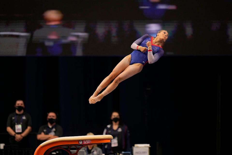 MyKayla Skinner competes on the vault during the women's U.S. Olympic Gymnastics Trials on Sunday, June 27, 2021, in St. Louis, Missouri.