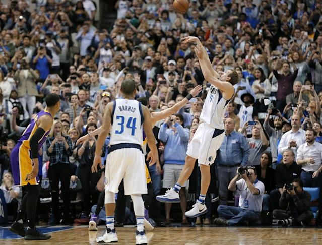 Nowitzki follows through on the shot that gave him 30,000 career points on March 7. (AP)