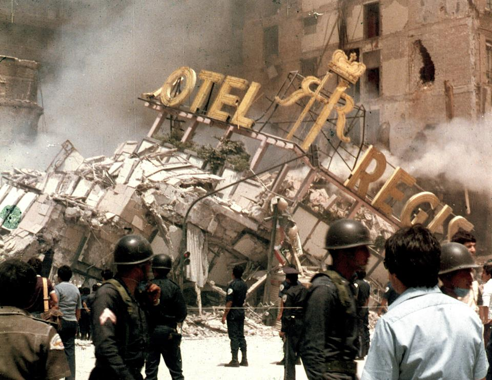 The rubble of Hotel Regis in Mexico City's central Alameda park square