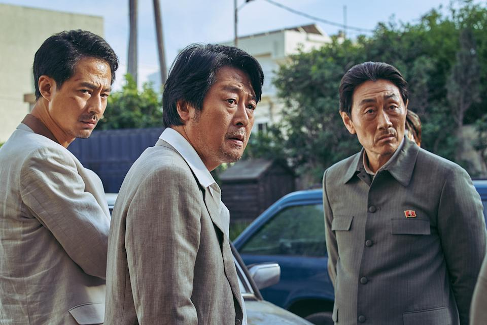(Left to right) Jo In Sung, Kim Yoon Seok, and Heo Joon Ho in Escape From Mogadishu. (Photo courtesy of Golden Village Pictures)