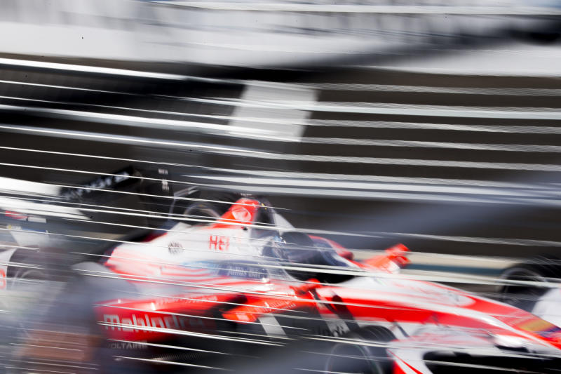 Nick Heidfeld of Mahindra Racing takes part in qualifying during the final day of the Formula E New York City ePrix all-electric auto race, Sunday, July 16, 2017, in the Brooklyn borough of New York. Heidfeld went on to qualify fifth. (AP Photo/Michael Noble Jr.)