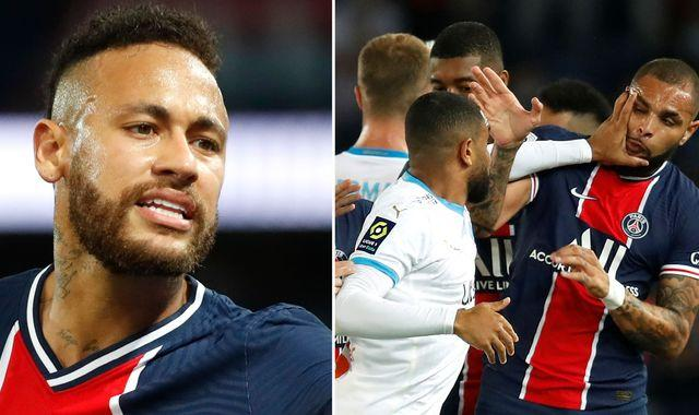 Neymar claims he was racially abused by opponent as mass brawl mars PSG-Marseille match