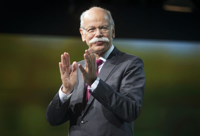 Chairman of Daimler AG and Head of Mercedes-Benz Cars Dieter Zetsche speaks before revealing the Mercedes GLE Coupe during a preview event for the media, ahead of the 2015 North American International Auto Show (NAIAS) in Detroit, Michigan
