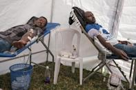 People in Ethiopian capital Addis Ababa joined a blood donation drive for troops