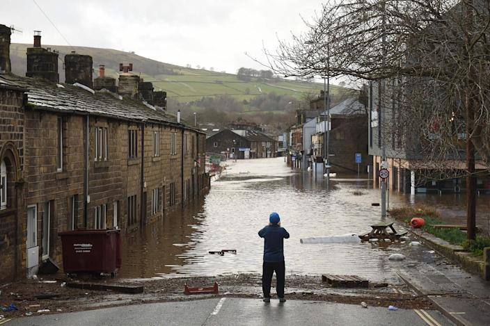 <p>Storm Ciara devastated Mytholmroyd in February 2020, as the River Calder burst its banks</p> (AFP/Getty)