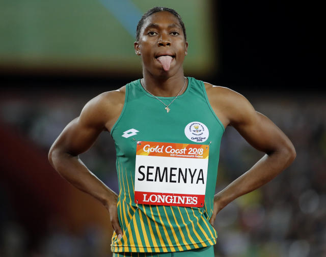 South Africa's Caster Semenya waits to compete in the woman's 800m final at Carrara Stadium during the 2018 Commonwealth Games on the Gold Coast, Australia, Friday, April 13, 2018. (AP Photo/Mark Schiefelbein)